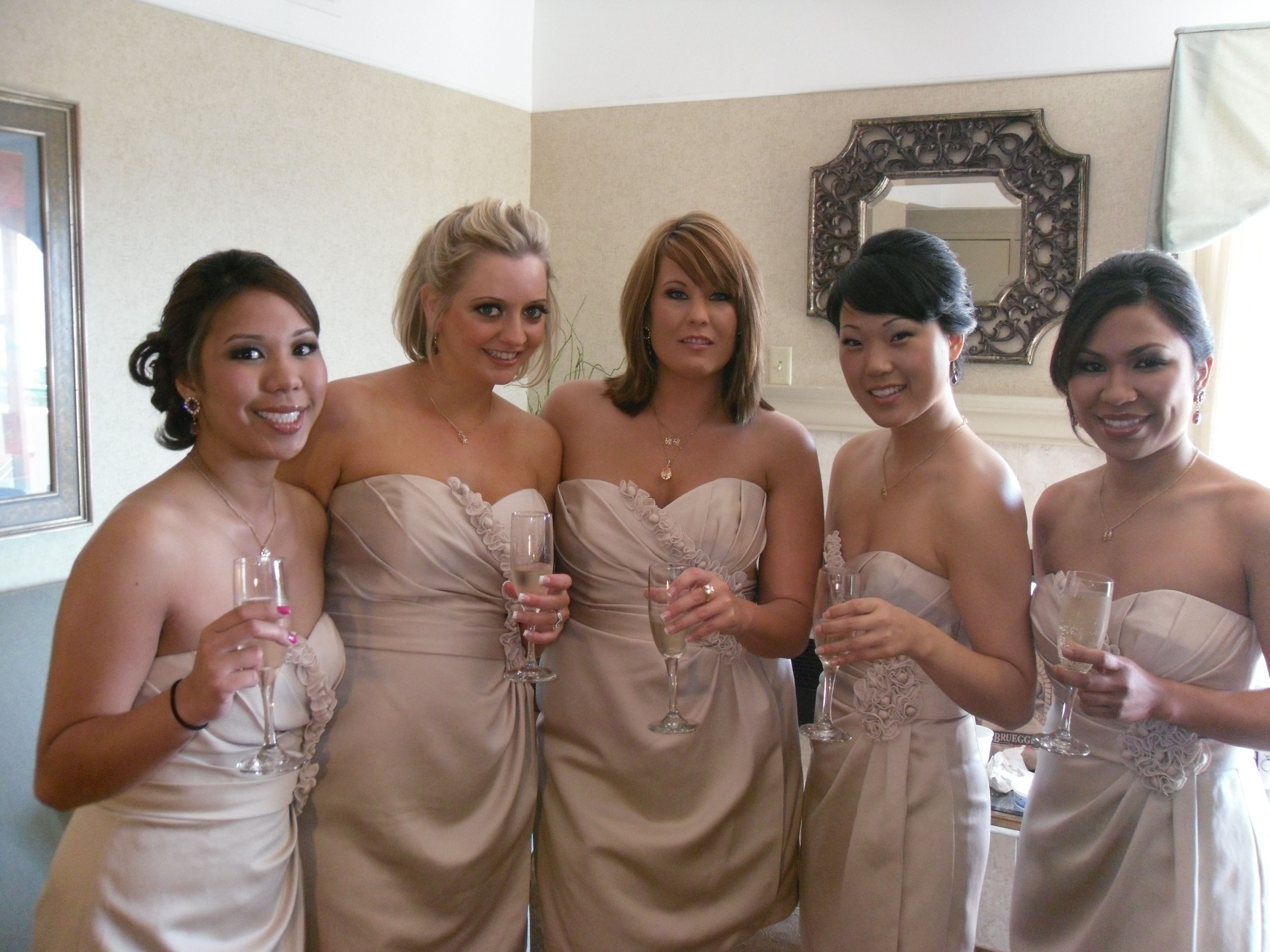 Bridesmaids a brides entourage my bridesmaids looking stunning in their champagne dresses ombrellifo Images