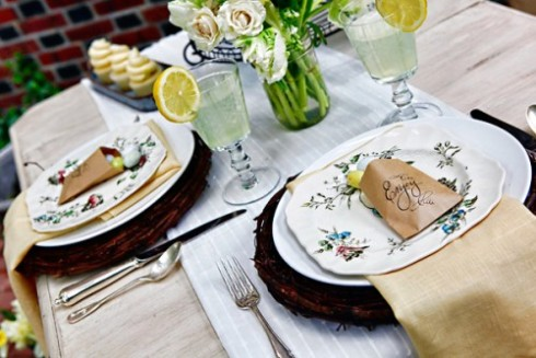 Yellow inspired vintage easter table setting