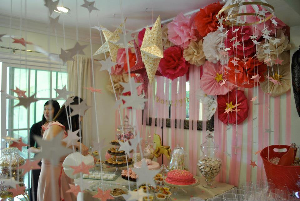 A Pink And Gold Star Studded Baby Shower