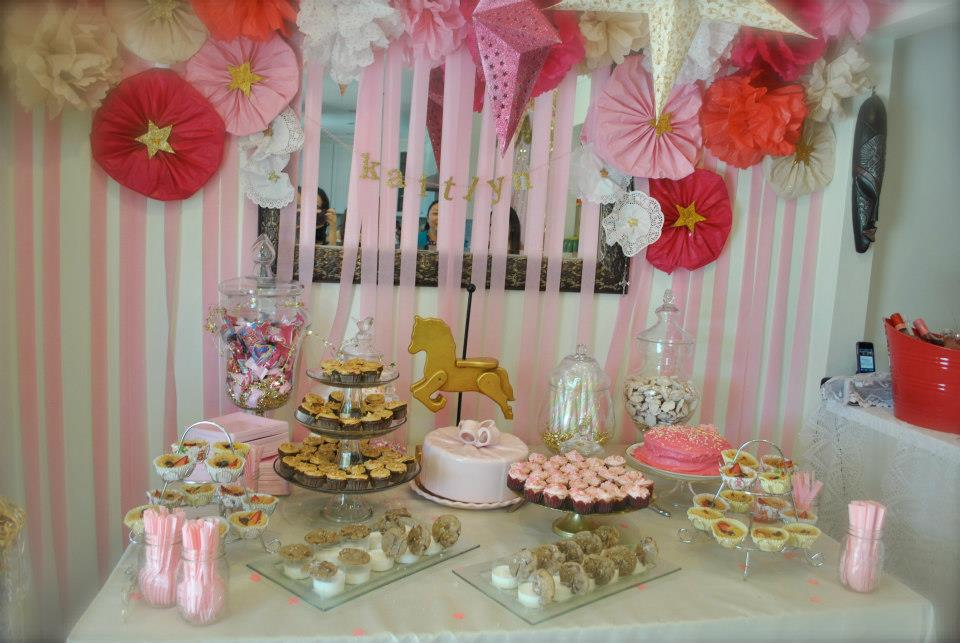 pink and gold star studded baby shower