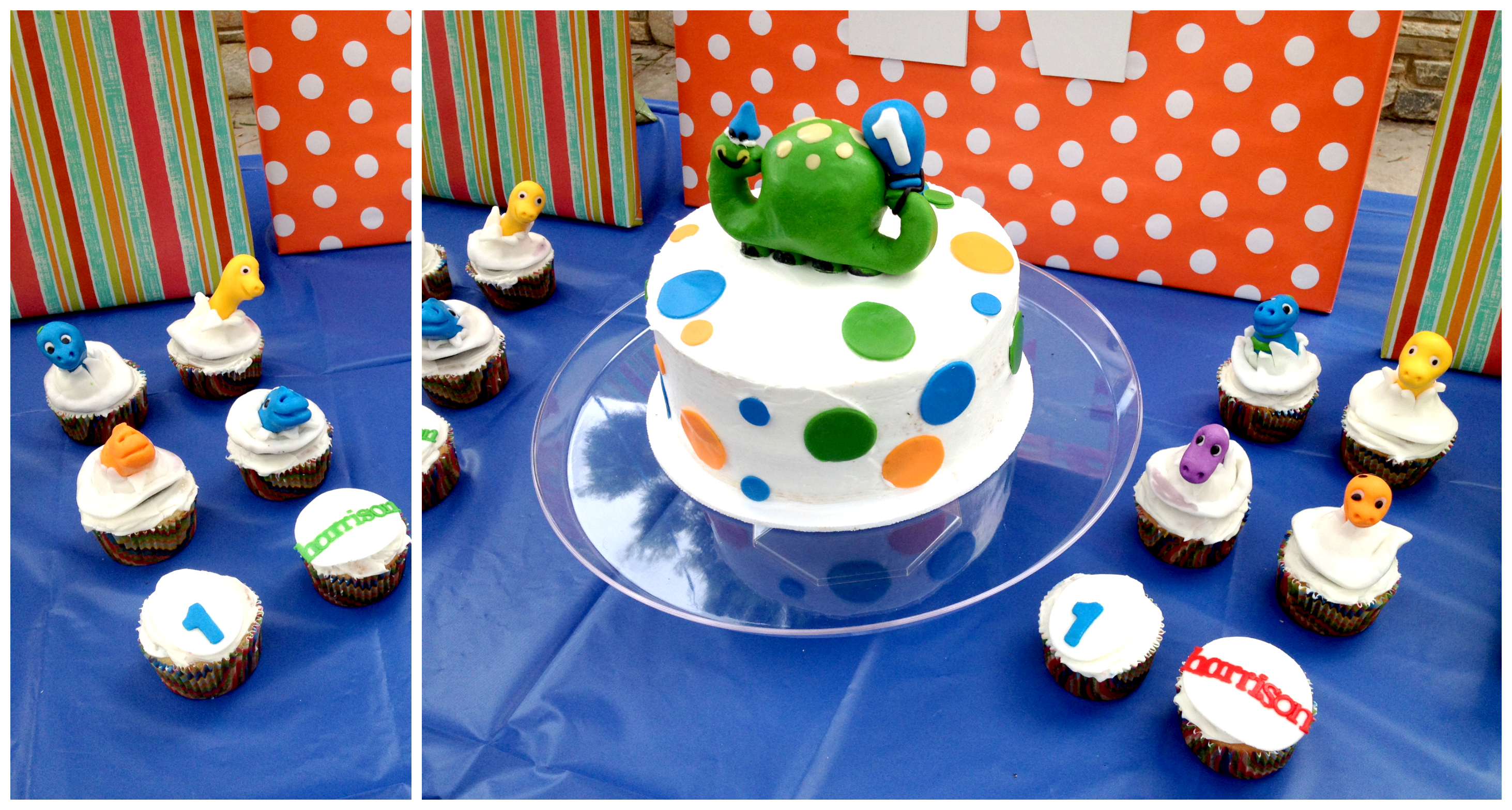 Dinosaur 1st birthday cake