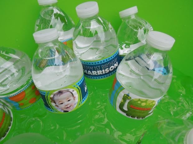 Dinosaur 1st birthday water bottle labels