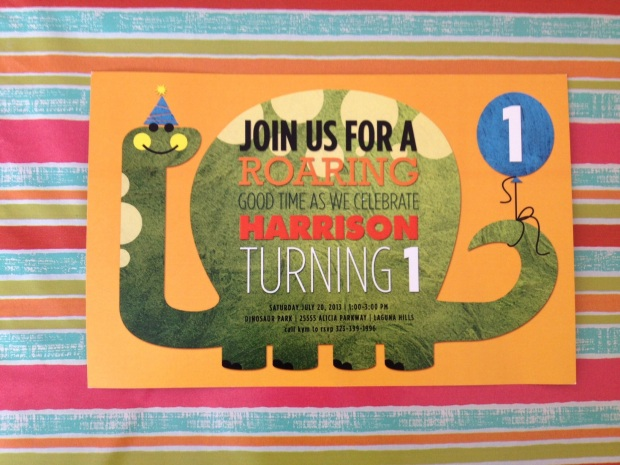 Dinosaur 1st birthday party invitation