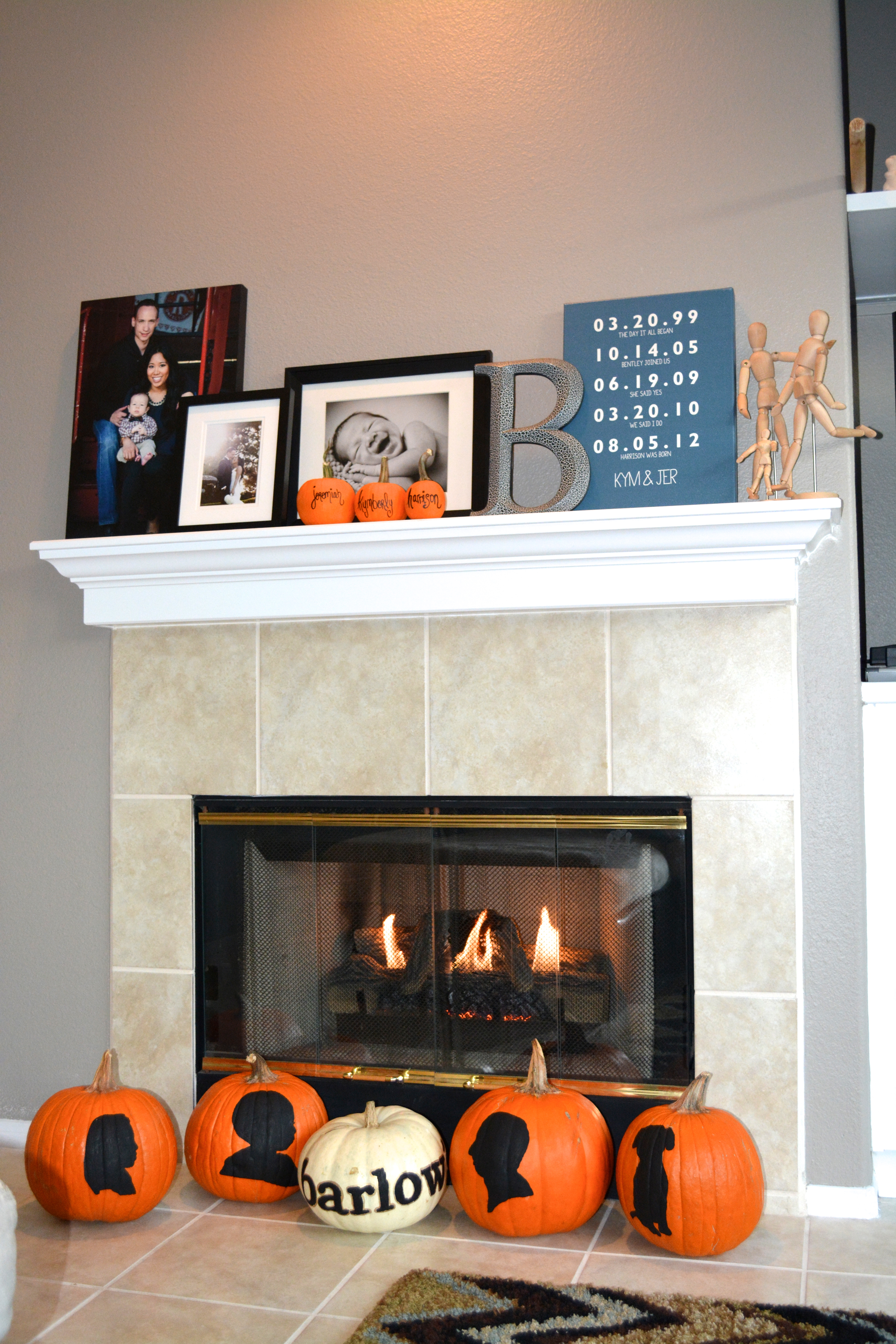 pumpkin decoration on mantel