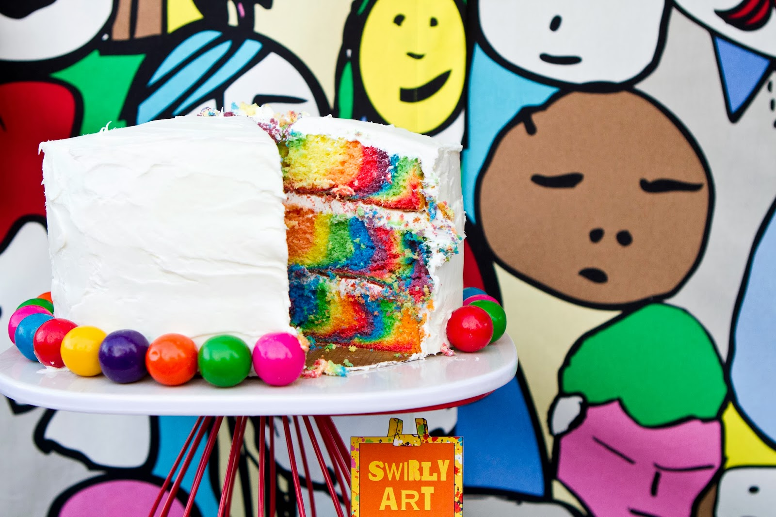 pop art party :: cut cake