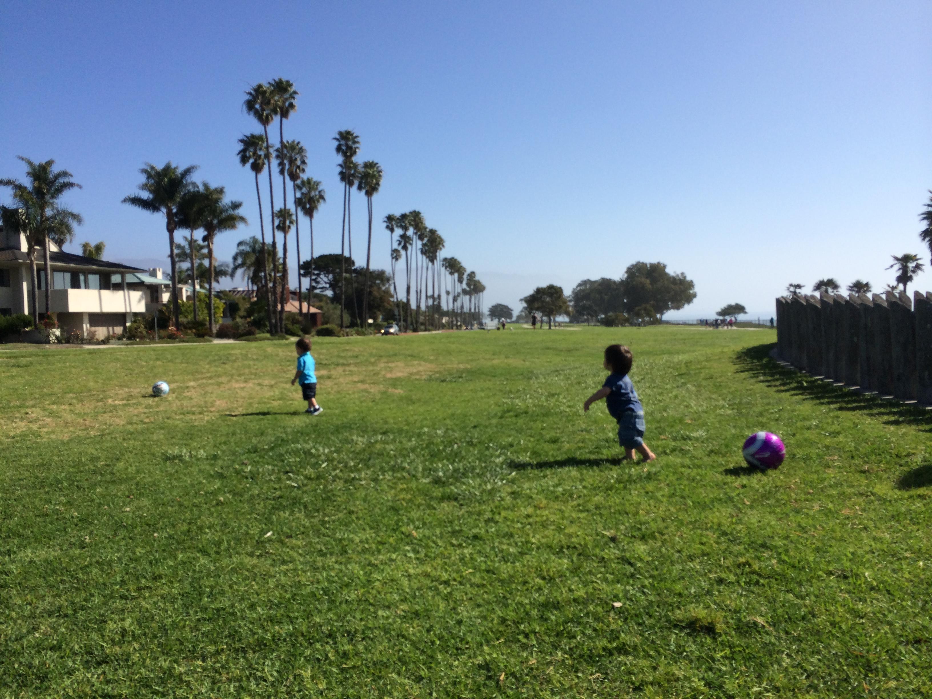 playing ball at the park // santa barbara