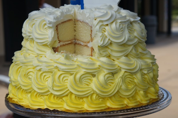 birthday cake // yellow ombre two tier cake