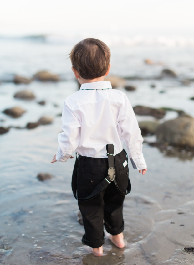 thegreatromance-toddler on beach-suspenders